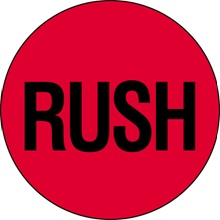 "2"" Circle - ""Rush"" (Fluorescent Red) Labels"