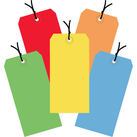 13 Pt. Shipping Tags - Assorted Color Packs - Pre-Strung
